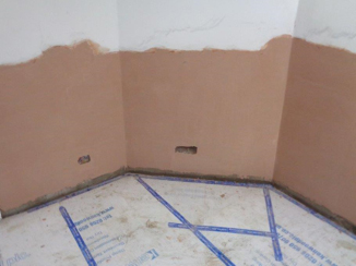 Walls injected and waterproof rendered