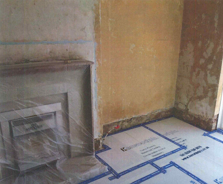 Floor Protection Laid and Fireplace protected prior to plaster removal