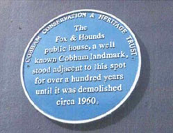 Cobham Conservation and Heritage Trust blue plaque