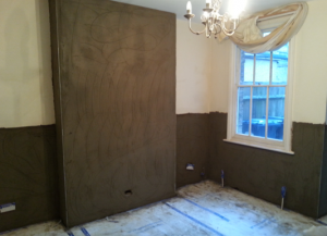 Walls re-rendered ready for final skim coat