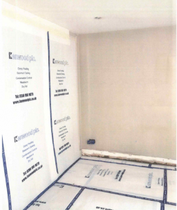 Damp Proofing doorway and floor protection