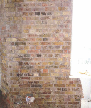 Internal brickwork with holes drilled ready for irrigation