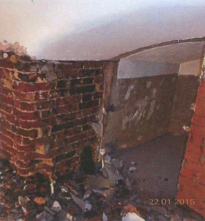 Vaulted walls before treatment