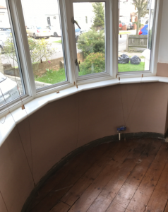 Walls re-plastered and skim finished